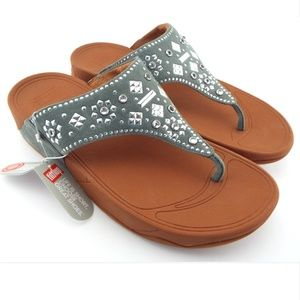 New FitFlop Dove Blue Suede Stud Thong Sandals 9